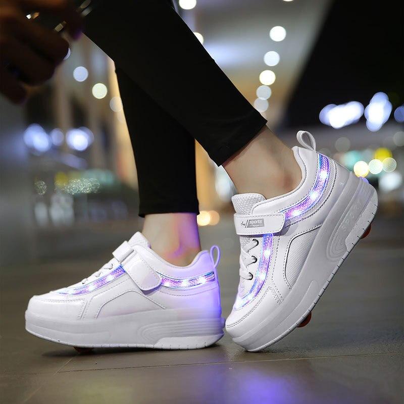 Дети один два колеса светящиеся кроссовки Золотой Розовый Светодиодный светильник роликовые коньки обувь дети Led обувь для мальчиков и девочек usb зарядка