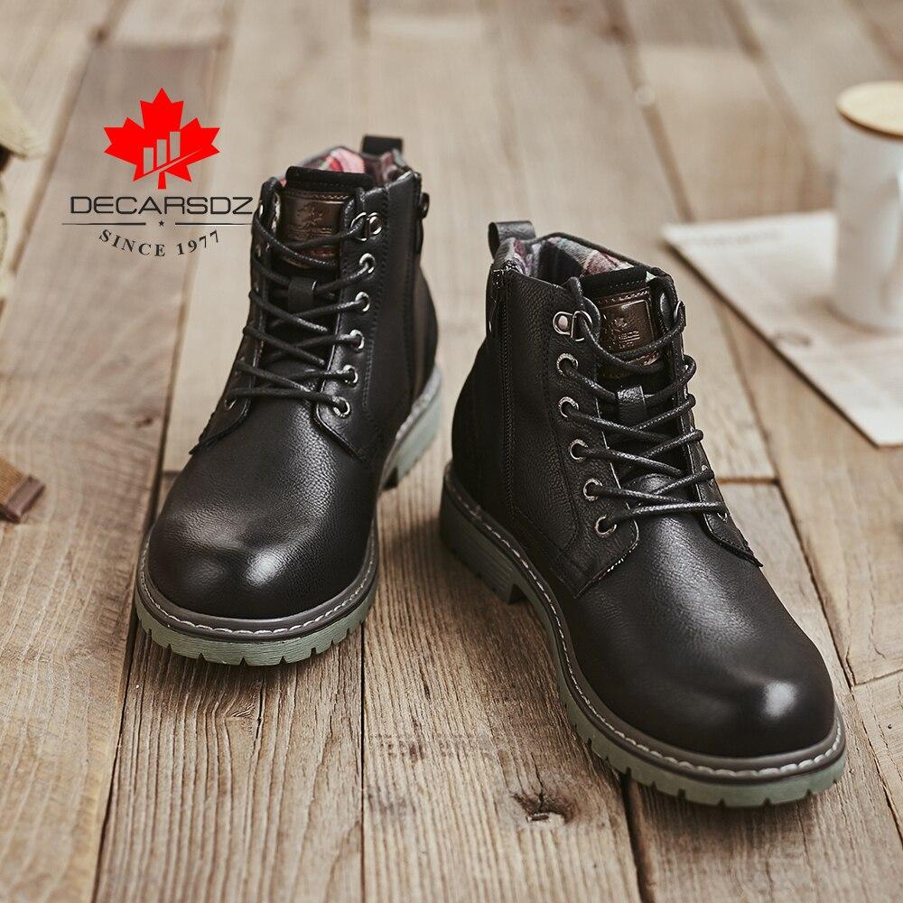 DECARSDZ Men Boots Autumn Comfy Durable outsole Lace-up Fashion Shoes Men 2020 Leather Casual Boots Men Brand design Men's Boots 6