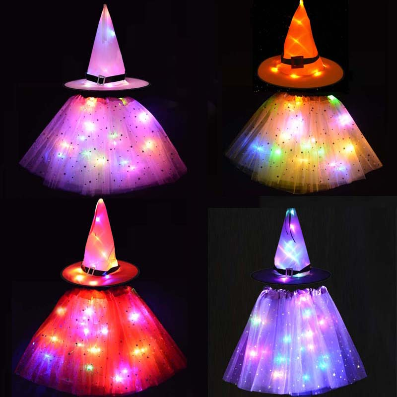 Led Girl Wizard Witch Costume Fancy Dress / Spider Web Cobweb Hat with Tutu Skirt Props Christmas Halloween Glow Party Supplies
