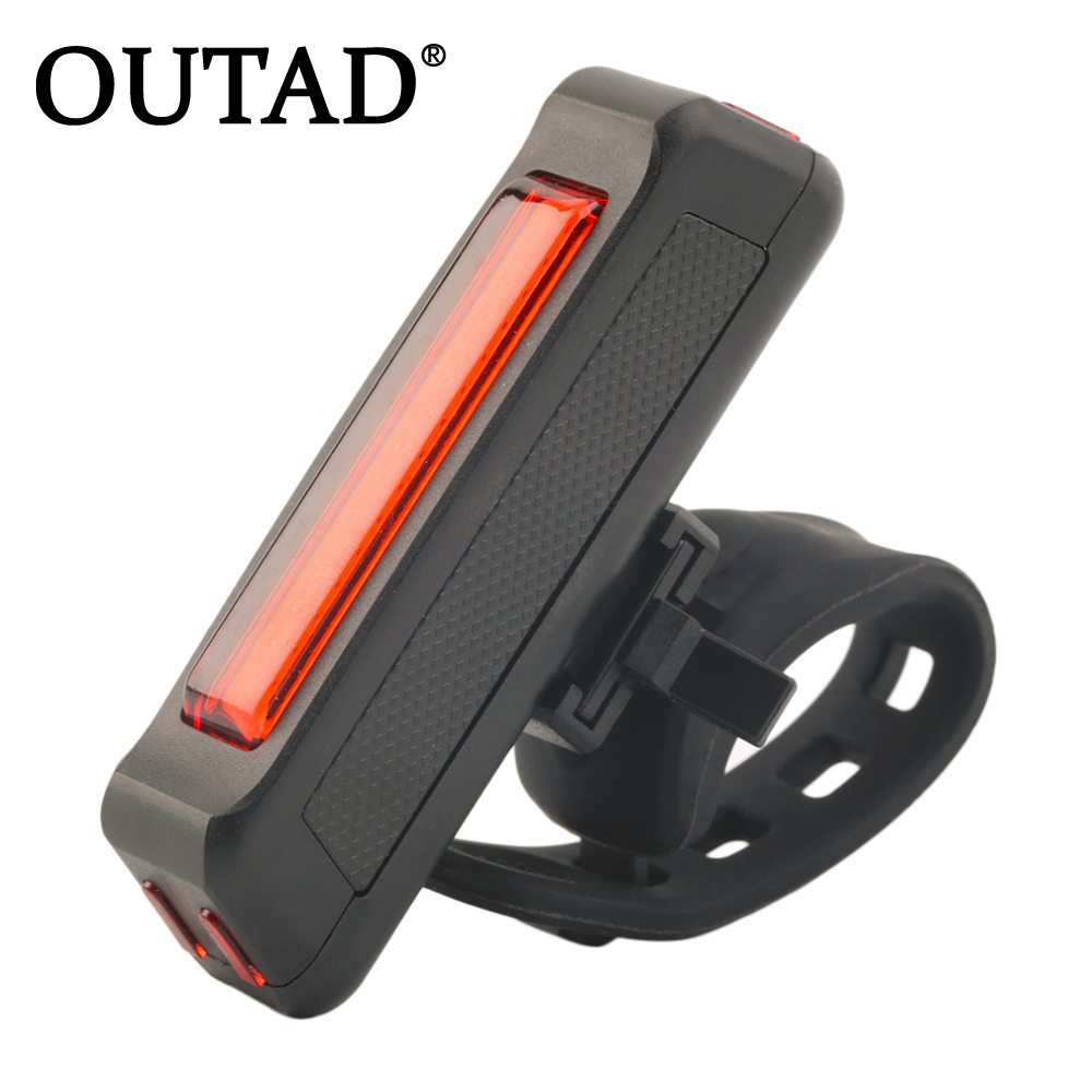 OUTAD USB Rechargeable Bike Bicycle Light Rear Back Safety Cycling Tail Light Red 100LM