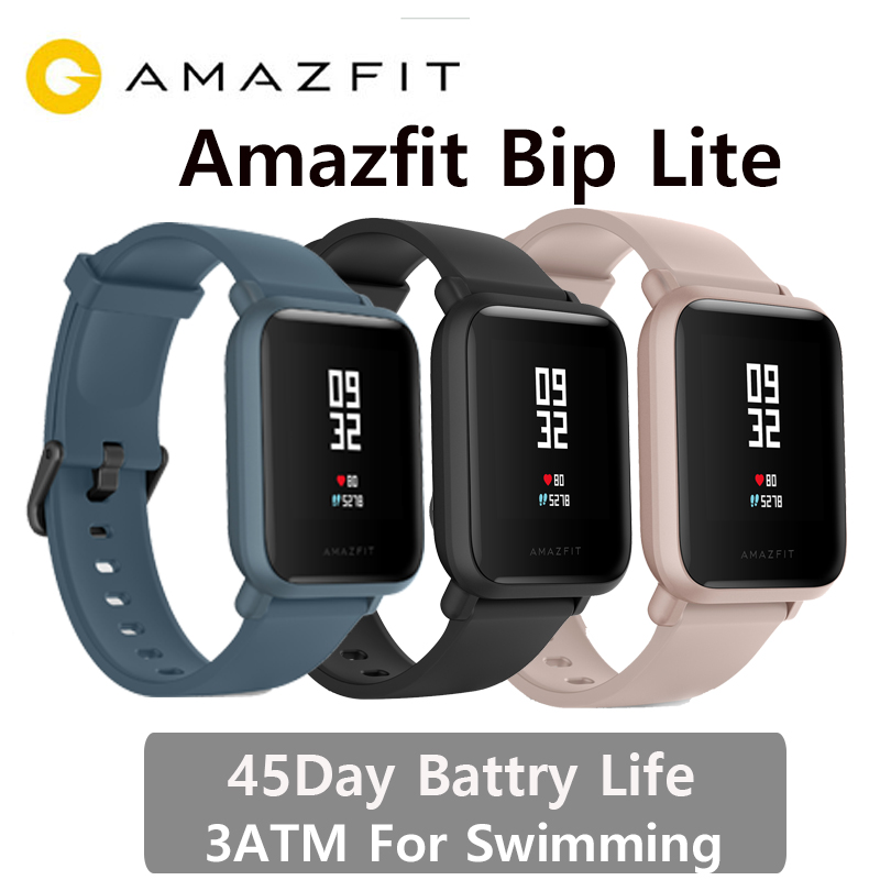 Versão internacional amazfit bip lite relógio inteligente 3atm natação relógio huami bip 2 smartwatch 45 dias bateria android ios