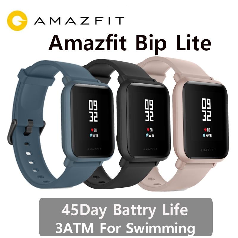 Version internationale Amazfit Bip lite montre intelligente 3Atm natation montre Huami BIP 2 Smartwatch 45 jours batterie Android iOS