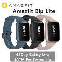 Wersja międzynarodowa Amazfit Bip lite smart watch 3Atm pływanie zegarek Huami w punkcie kontroli granicznej 2 Smartwatch 45 dni baterii Android iOS