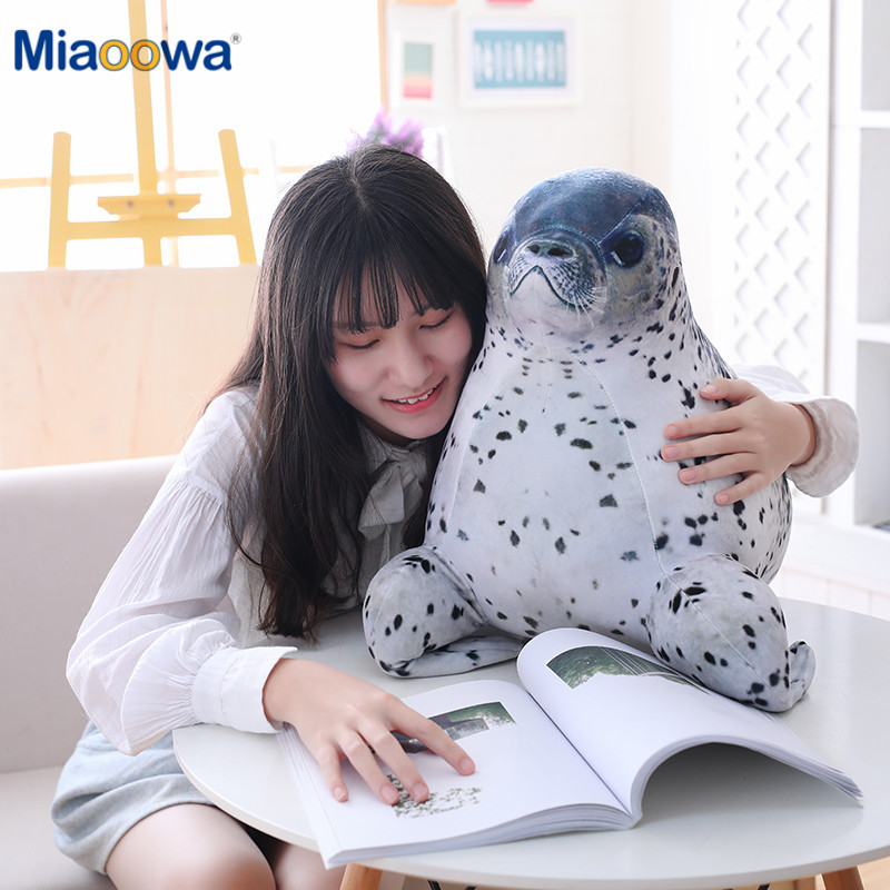 30-60cm Cute Sea Lion Plush Toys 3D Novelty Lifelike Soft Seal Stuffed Animal Doll Lovely Sleeping Pillow Kids Baby Girls Gift
