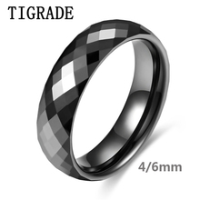 TIGRADE 4/6mm Black Ceramic Ring For Woman Man New Hand Cut Top Quality Jewelry Without Scratches Women Rings Allergy Free