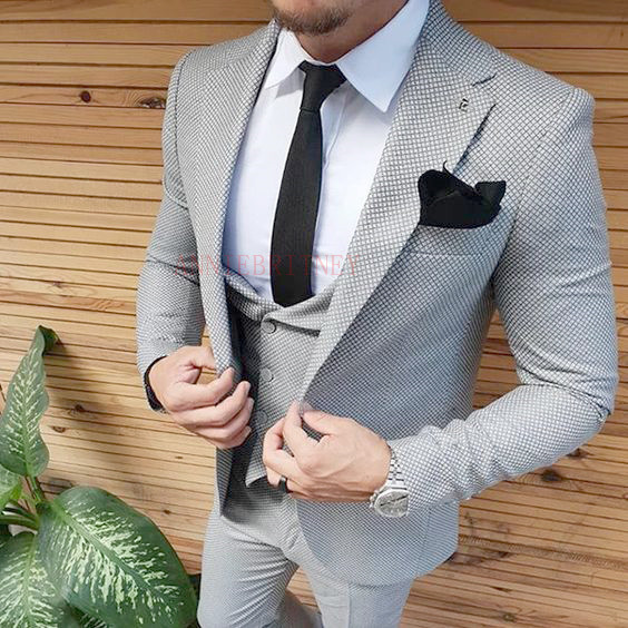 ANNIEBRITNEY Latest Coat Pant Designs Man Suit Custom Made Slim Fit Blazer With Pants Groom Wedding Tuxedo Mens Suits Set 2019