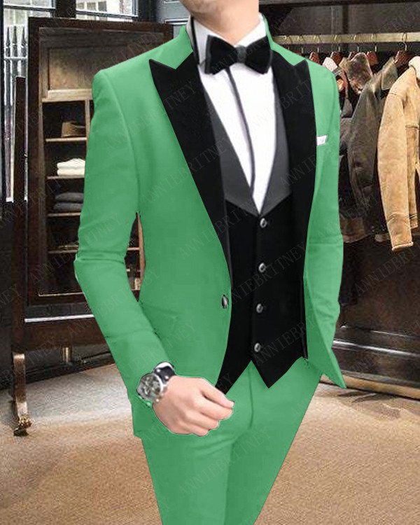 ANNIEBRITNEY Casual Fashion Green Men's Suit Set Wedding Prom Groom Tuxedos Custom Made Large Size Blazer Jacket+Pants+Vest 2019