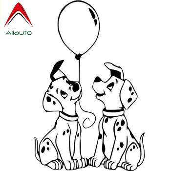 Aliauto Creative Car Stickers Dalmatians Dog Vinyl Decal Endearing Automobile Styling Truck Accessories Black/Silver,9cm*14cm image