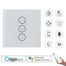 Умный дом настенный выключатель ЕС Wifi сенсорный занавес переключатель Голосовое управление от Alexa/Google Phone управление для электрического шторного двигателя