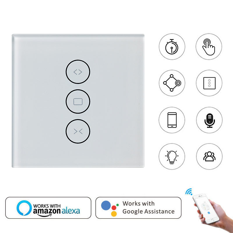 Smart Home Wall Switch EU Wifi Touch Curtain Switch Voice Control By Alexa /Google Phone Control For Electric Curtain Motor