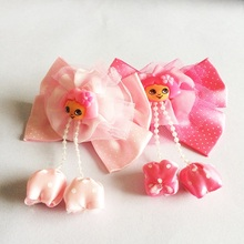 1 Pcs/lot Boutique Hair Bows Clips Cute Dot With Chiffon Flower Hairpin For Girl Lovely Kids Accessories