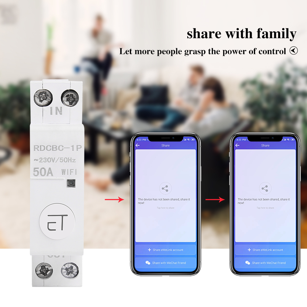 eWelink 1P WiFi remote control circuit breakerSmart din rail switch compatiable with amazon Alexa and google home for Smart Home 6