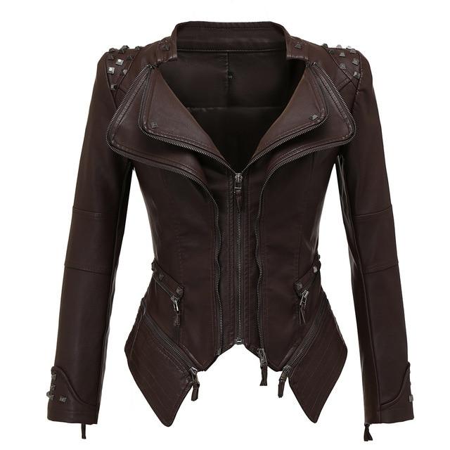 Vestes en Faux cuir femme manches longues, moto lisse, automne hiver motard Streetwear noir et rose manteau 6