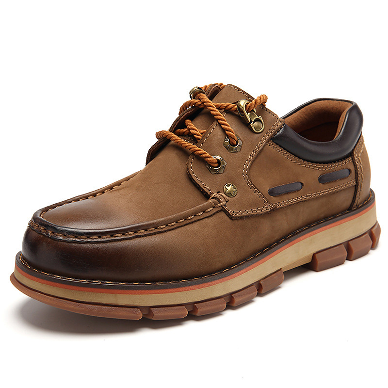Genuine Leather Shoes Men Low Boot Working Shoes Outdoor Fashion Low-Heeled Round Head Tooling Shoes Non-slip Boat Shoes Loafers