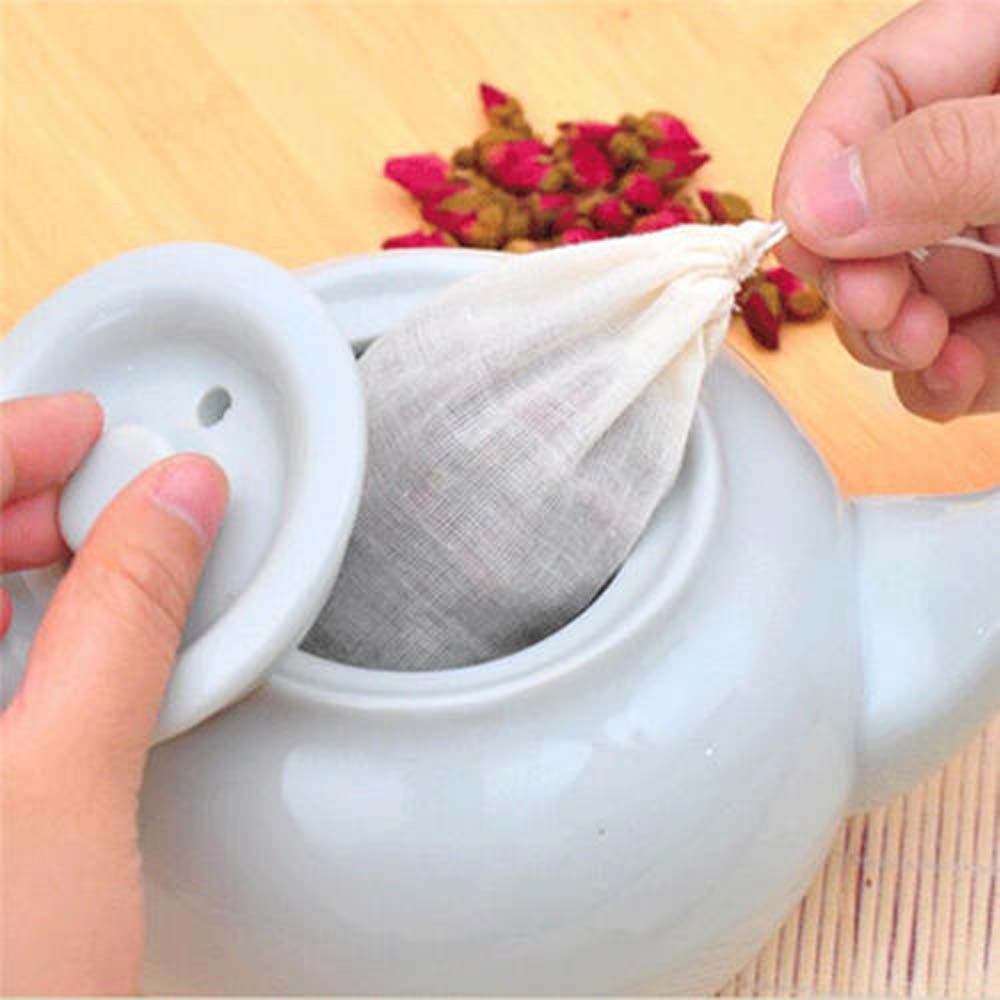 1PC  Tea Strainers 10pcs 8x10cm Large Cotton Muslin Drawstring Reusable Bag Soap Herb Spice Filter Drinkware Kitchen Accessories