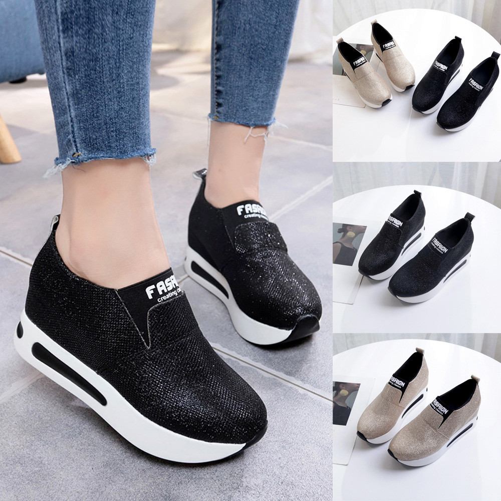 SAGACE Shoes Ankle-Boots Bottom Platform Sport Thick Casual Fashions Slip-On Walking title=