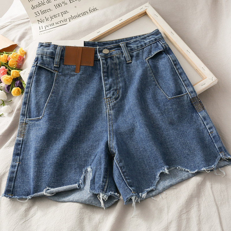 Korean version of bf wind worn tassel high waist denim shorts female 2020 summer new wild blue raw denim shorts women's short