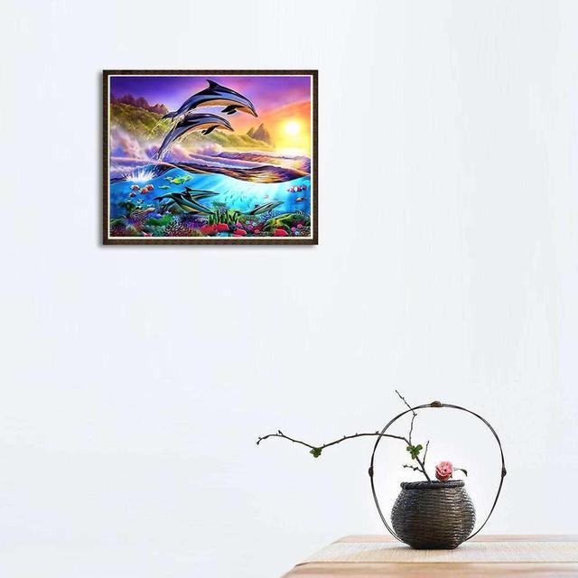 Peinture 5D bricolage diamant dauphin | Peinture diamant, cristal, point de croix le monde sous-marine, couture décoration de la maison