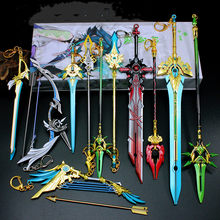 25cm Game Genshin Impact Anime Figure Weapon HuTao Klee ZhongLi Diluc Xiao Alloy Sword Model Toys Keychain Collection for Gift