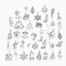 40pcs 40different Christmas Tibetan Silver Mixed Styles Charms Pendants DIY Jewelry for Necklace Bracelet Making Accessaries