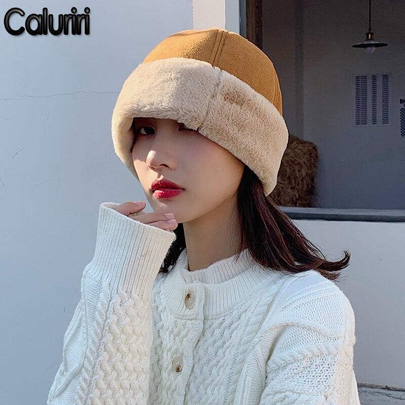 Caluriri Women Thick Winter Hat Windproof Plus Fleece Suede Warm Beret Hat Faux Leather Girl Cap Melon Hat Landlord Bone