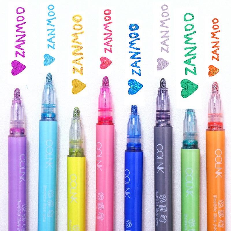Bolígrafo de pintura de tinta Flash para cuenta de mano, rotuladores artísticos coloridos de Color caramelo Kawaii, regalo, papelería