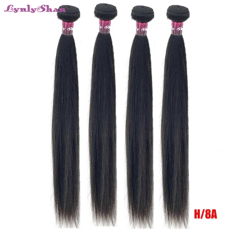 Lynlyshan Peruvian Hair Weave Bundles High Ratio Straight Human Hair 3/4 Bundles Hair Extension 100% Remy Human Hair 8-30 inch