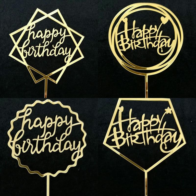 Thanksgiving Gold Gelukkige Verjaardag Acryl Taart Decoratie Kaart Cake Topper Bakken Cake Plugin Verjaardagsfeestje Decoratie