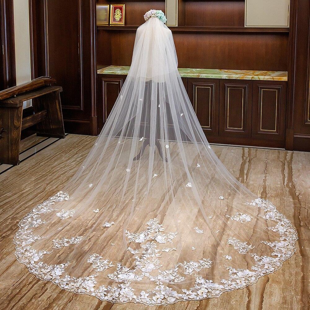 4 Meter Lange Wit Ivoor Kathedraal Wedding Veils Lace Edge Bridal Veil met Kam Bruiloft Accessoires Bruid Bruiloft Sluier