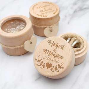 Couple Gift Bearer-Box Wedding-Ring-Box Wood Rustic Custom Personalized