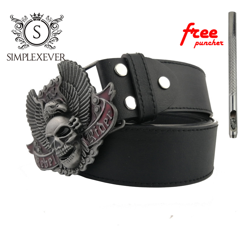 Silver Skull Belt Buckle Suitable For 4cm Width Belt With Continous Stock Men's Metal Belt Buckle With Leather Belt
