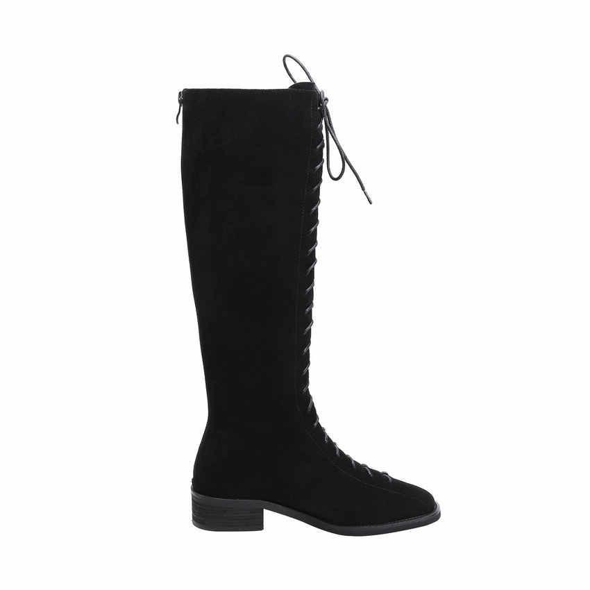 QUTAA 2020 Lace Up Rits Koe Lederen Kid Suede Kwaliteit Vrouwen Schoenen Vierkante Hak Herfst Winter Toevallige Knie Hoge Laarzen maat 34-40