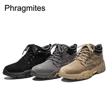 Phragmites High Top Winter Zapatos De Hombre Leather Men Boots Lace-Up Warm Plush Waterproof Motorcycle Fashion Shoes