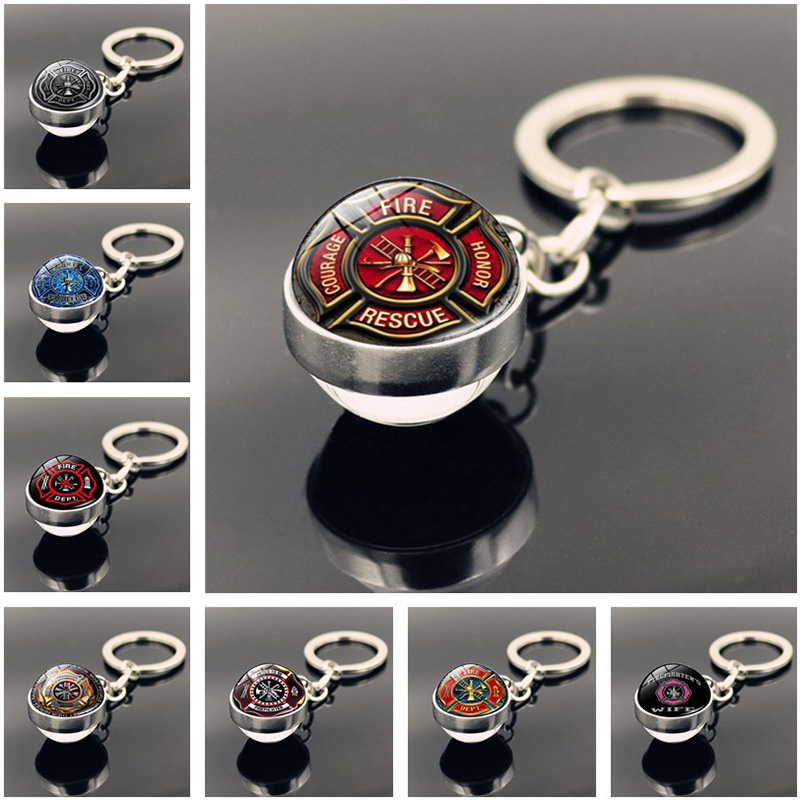 Firefighter Keychain Rescue Firefighter Jewelry Accessories Fashion Double Side Glass Ball Key Chain Holder For Men Firemen Gift