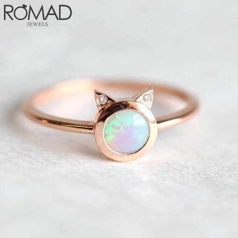 ROMAD Dainty Tròn Đá Opal cho Nữ, Nhẫn Nữ Tai Mèo Nhẫn Dễ Thương Thời Trang Trang Sức CZ Pha Lê Nhẫn Cưới Đính Hôn quà Tặng