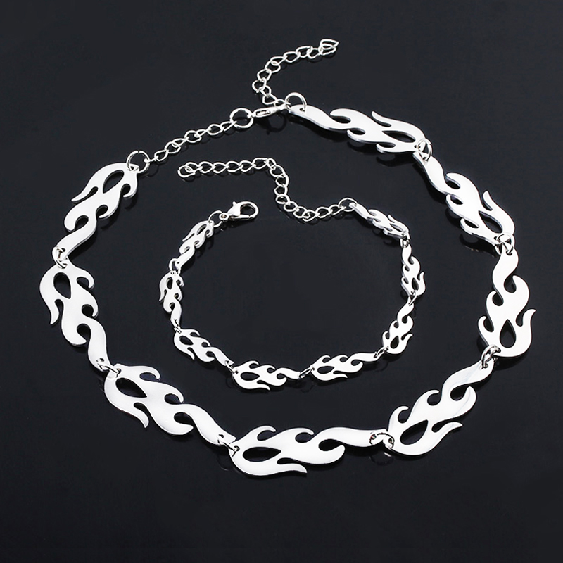 Galleria fotografica Fashion Jewelry Flame Necklace Sets Punk Accessory Rock Chain Unisex Choker for Women Men 2019 Hip Hop Gift Party Accessories