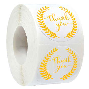 500pcs labels roll Gold Foil Olive branch thank you stickers Round handmade sticker for package decoration stationery sticker merry christmas reindeer olive branch print round beach throw