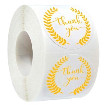 Etiquetas de 500 Uds., rollo de hoja de oro, rama de olivo, pegatinas de agradecimiento, pegatina redonda hecha a mano para la decoración del paquete, adhesivo de papelería