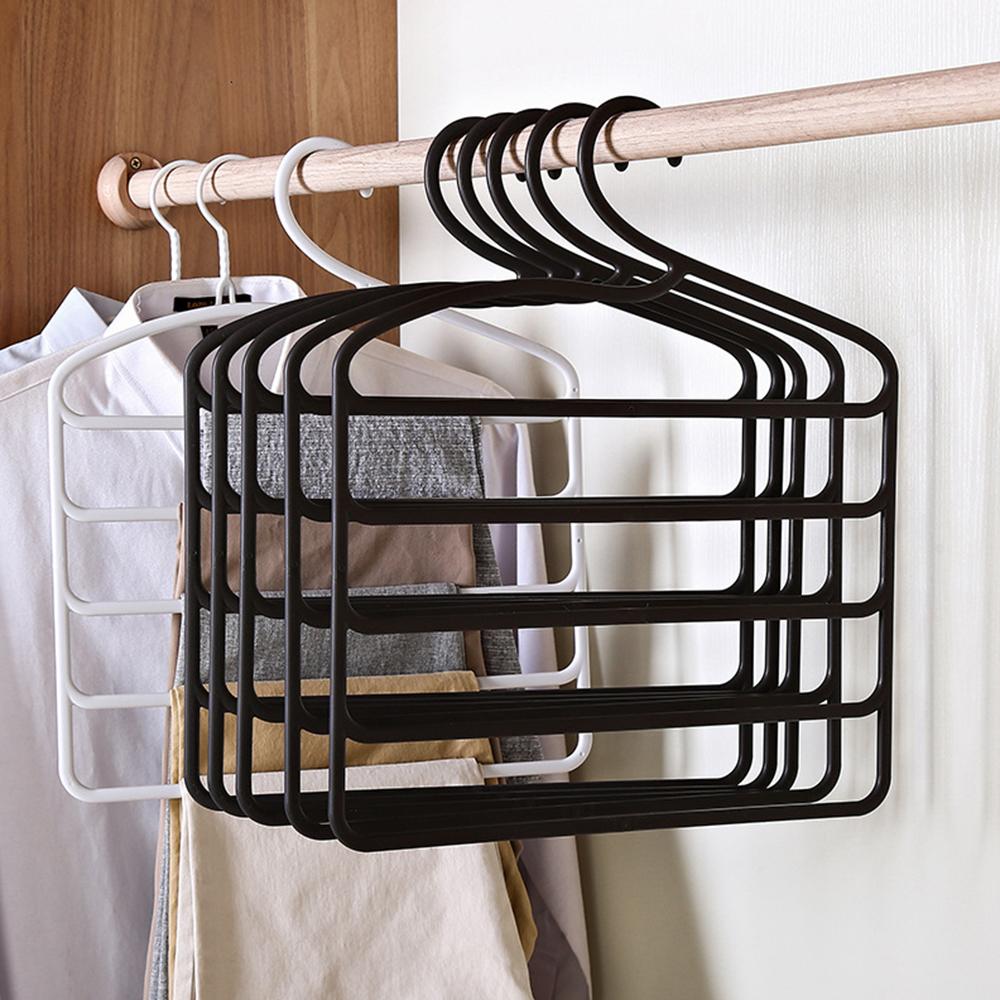 5 Layers Hanger Storage Rack MultiFunctional Pants Hangers Holders Trousers Clothes Hanger Space Saver Wardrobe Closet Organizer