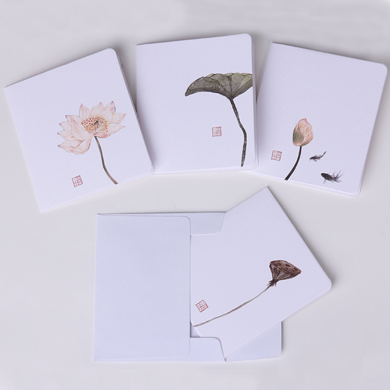 Beautiful Painting Lotus Mini Greeting Card Postcard Birthday Letter Envelope DIY Gift Card Message Card Kraft Paper Cards