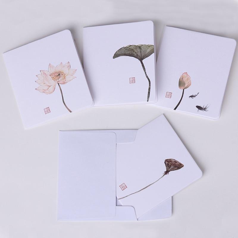 Beautiful Painting Lotus Mini Greeting Card Postcard Birthday Letter Envelope DIY Gift Card Message Card Kraft Paper Cards