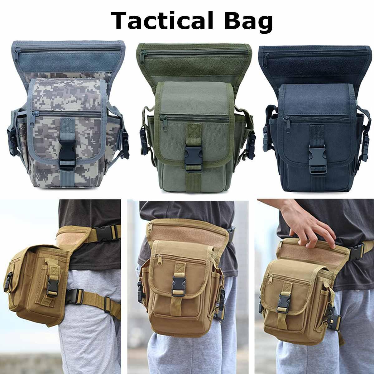 Men Military Tactics Leg Bag Fanny Pack Oxford Waterproof Waist Pack Bum Bag Multi-Purpose Hip Belt Pouch Camouflage