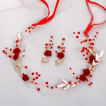 Chiński czerwony kwiat liść opaski kolczyki ślubne zestawy biżuterii kryształowe tiary Rhinestone korony dla panny młodej Noiva ślubne tanie i dobre opinie ACRDDK Ze stopu cynku CN (pochodzenie) Kobiety Metal Klasyczny Zestawy biżuterii dla nowożeńców 50746 Party