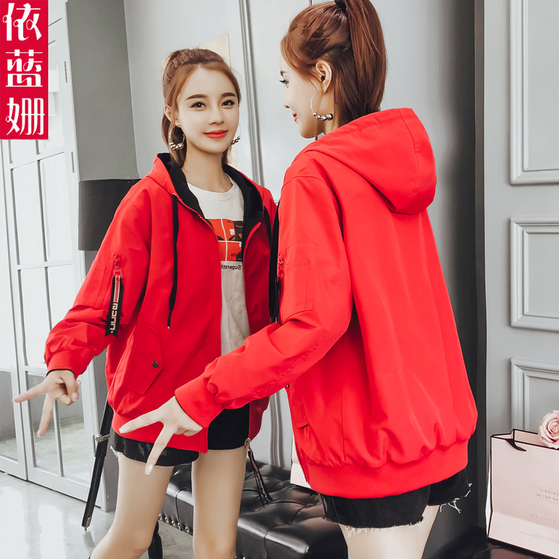 2019 Spring And Autumn New Short Coat Women Wear Casual Hat Baseball Suit On Both Sides In Autumn