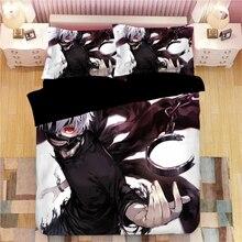 Tokyo Ghoul Cartoon 3D Printed Bedding Set Duvet Covers Pillowcases Kaneki Ken Comforter Bedclothes Bed Linen