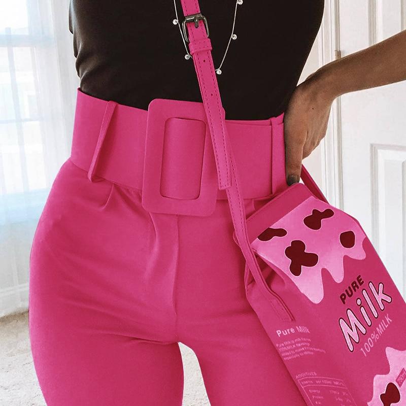 InstaHot Casual High Waist Pencil Pants Women Belt Ankle Length Office Lady Pants Blue Zipper Suit Trousers Straight Leg Sashes