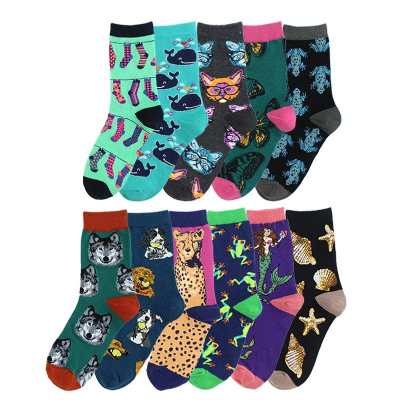 Freeshipping Mid Crew Socks Starfish Conch Shell Fossil Cheetah Toad Butterfly Whale Mermaid Wolf Golden Retriever Great Dane