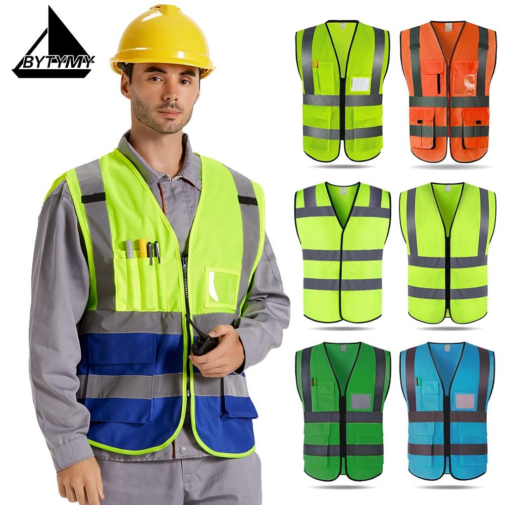 High Visible Safty Reflective Vest Work Clothes Outdoor Traffic Safe Clothing Hi Vis Orange Vest Flourescent Yellow Vest