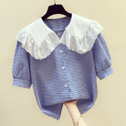 2020 Summer Plaid Blouse for Women New Korean Style Lace Doll Collar Short Sleeve Plaid Shirt Women's Casual Shirts Blusas Mujer
