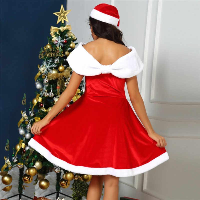 Europejski i amerykański styl boże narodzenie kapelusz festiwal suknia ubrania hurtownia słodkie Off The Shoulder mini piłka suknia wieczorowa N27